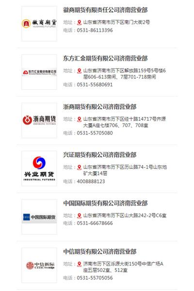 济南设立营业部的部分期货公司